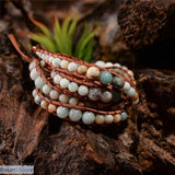 5X Handmade Leather Wrap with Natural Amazonite Gemstone, Amazonite 5x Wrap Bracelet- Basarti.Store