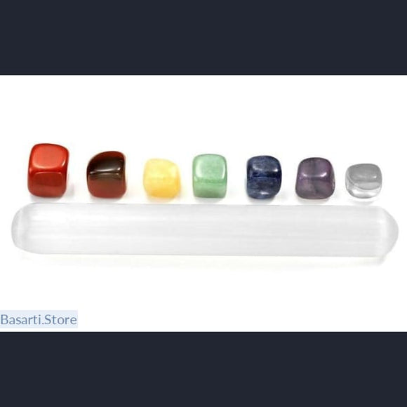 7 Chakra - Crystal Healing Kit with Polished Large Selenite Stick, Crystal Reiki- Basarti.Store
