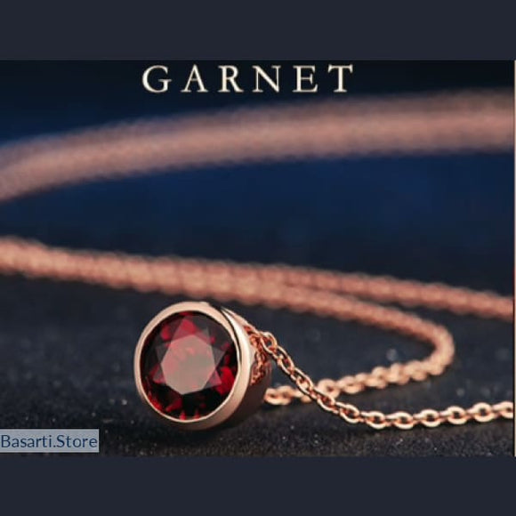 7mm 1.5ct Natural Gemstone Red Garnet 925 Sterling Silver, Fine Jewelry Necklace- Basarti.Store