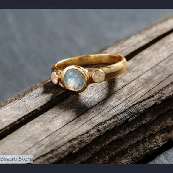 925 Silver Ring 18k Golden Plated with natural Gemstones: rainbow moonstone + labradorite, 925 Silver Ring 18k Golden Plated with natural Gemstones- Basarti.Store