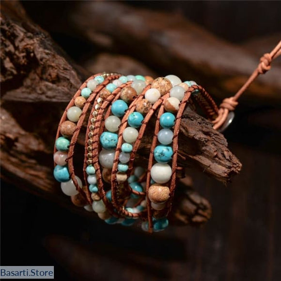 Amazonite and Blue Turquoise PU Leather 5x Wrap Bracelet, Amazonite and Blue Turquoise PU Leather 5x Wrap Bracelet- Basarti.Store