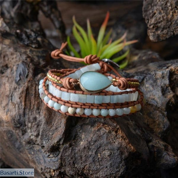Amazonite Stone Leather Wrap Beaded Bracelet, Amazanite Stone 3X Leather Wrap Beaded Bracelet- Basarti.Store