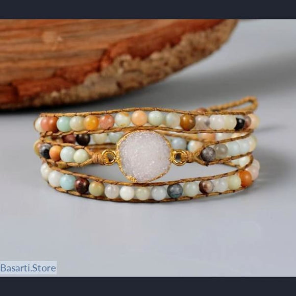 Amazonite with Gilded Druzy Crystal 3x Wrap Bracelet, Amazonite and Druzy 3x wrap bracelet- Basarti.Store