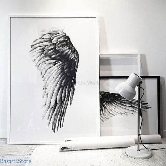Angel Wings Print on Canvas - No Frame (Several size options), Decor Art Print- Basarti.Store