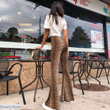 Animal Print High Waist Flare Pants, - Basarti.Store