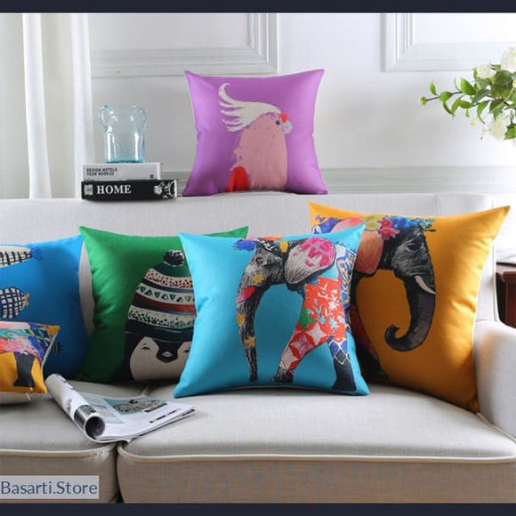 Artful Animal Square Throw Pillow Cushion Covers, 40507- Basarti.Store