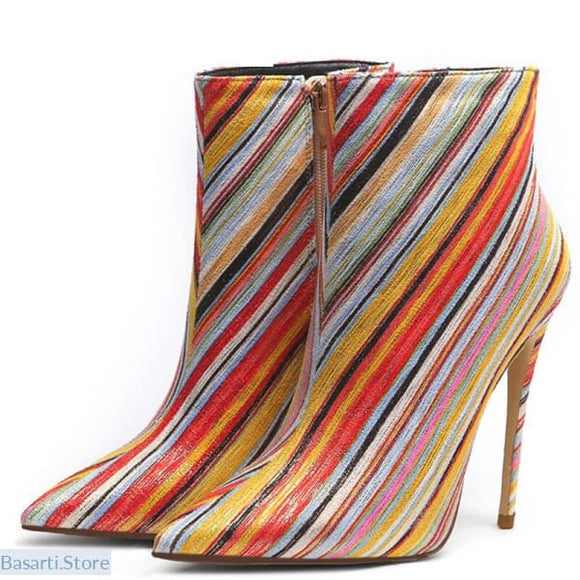 Autumn & Winter Color Ankle High Stiletto Heel Boots - 200000998