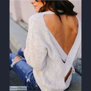 Backless Cross Pullover Casual Sweater, 200000373- Basarti.Store