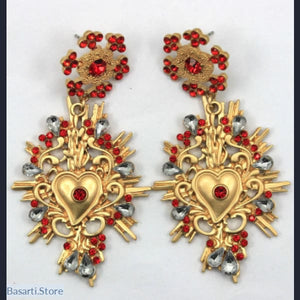 Baroque Crystal Vintage Dangle Earrings with Red Flower & Red Heart, Baroque Earrings Red Flower and Heart- Basarti.Store