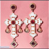 Baroque Style Lacquered Cross Drop Earrings with Rhinestones, Baroque Style Lacquered Cross Drop Earrings with Rhinestones- Basarti.Store