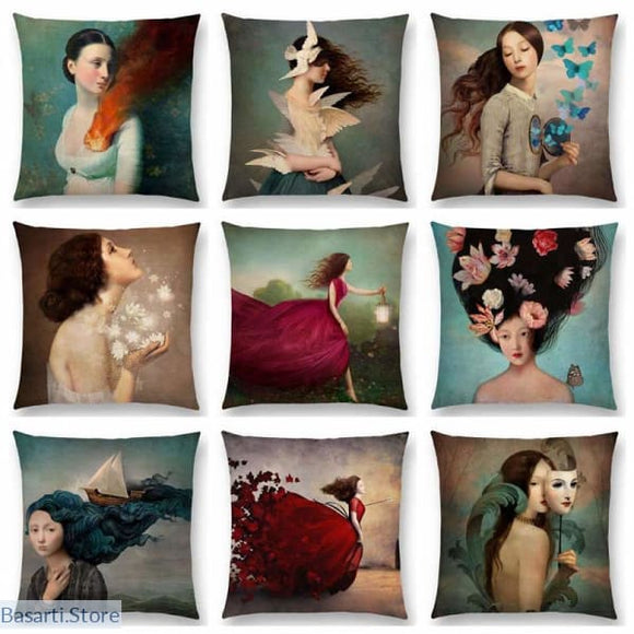 Beautiful Art Linen Pillow Case Covers, Decor Pillow- Basarti.Store