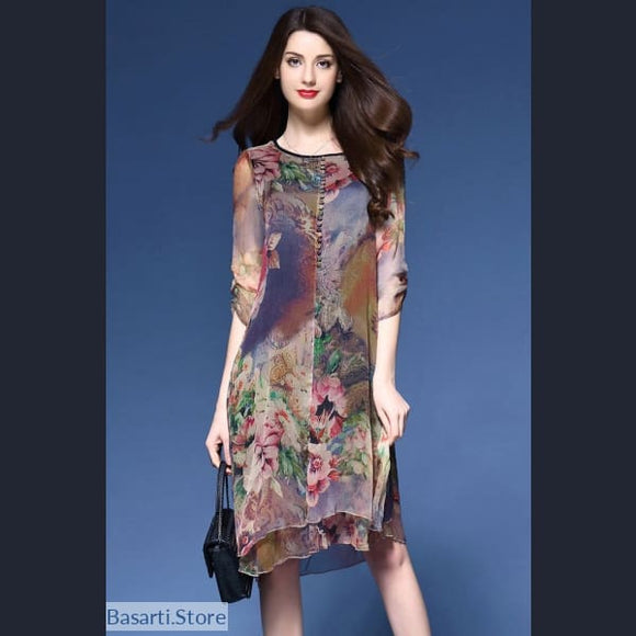 Beautiful Bohemian Summer Print Dress Sizes M-5XL, 200000347- Basarti.Store
