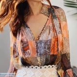 Beautiful Single Breasted Lantern Sleeve Printed Blouse, 200000346- Basarti.Store