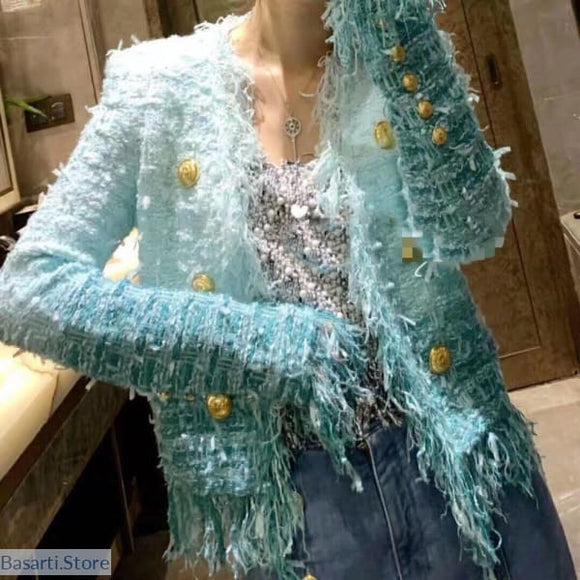 Beautiful Sky Blue Tassel Tweed Jacket - 200000801