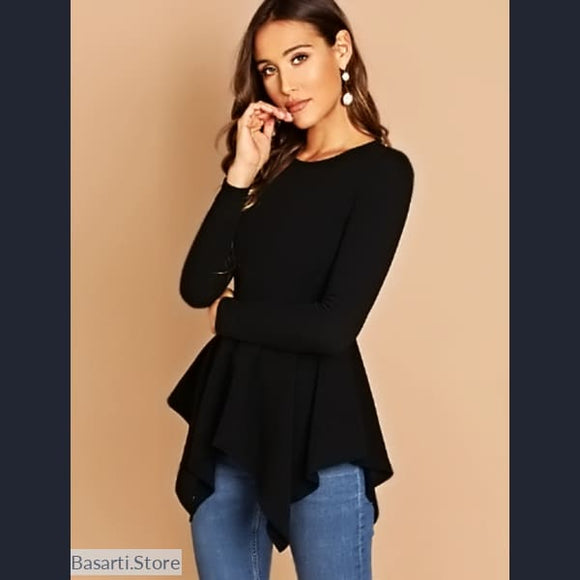 Black Asymmetrical Top with Long Sleeve, Black Asymmetrical Top with Long Sleeve- Basarti.Store