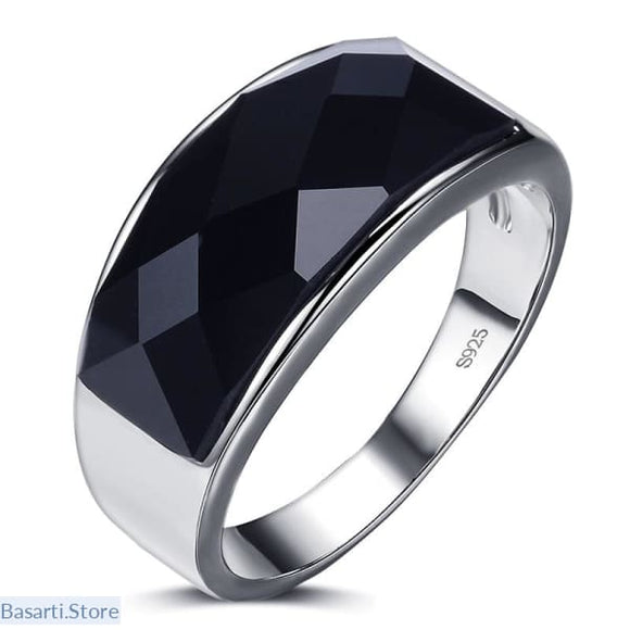 Black Crystal and 925 Sterling Silver Men's Ring, Black Crystal Silver Ring Men- Basarti.Store