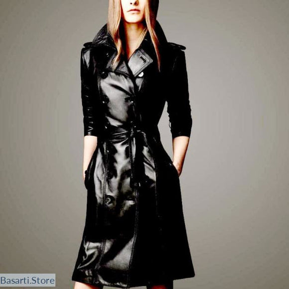 Black Double-breasted Pu Leather Trench Coat (s to 3xl), Leather Trench Coat- Basarti.Store
