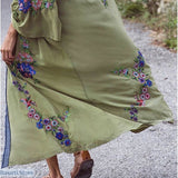 Bohemian Style Long Embroidered Floral Blouse, 200000346- Basarti.Store