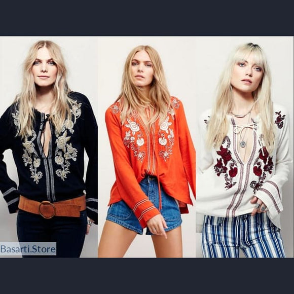 Boho Embroidered Floral Chic Blouse in 3 Colors, 200000346- Basarti.Store
