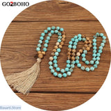 Boho Jewelry Necklaces Women 108 Mala Semi-precious Beads Necklace with Tassel, Jewelry Necklace Mala- Basarti.Store