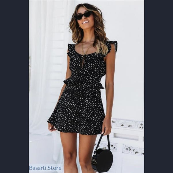 Boho Sleeveless Polka Dot Loose and Causal Butterfly Mini Dress, 200000347- Basarti.Store