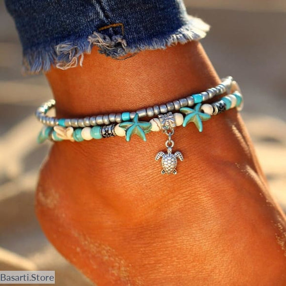 Boho Starfish Charm Ankle Bracelet For Women, 200000141- Basarti.Store