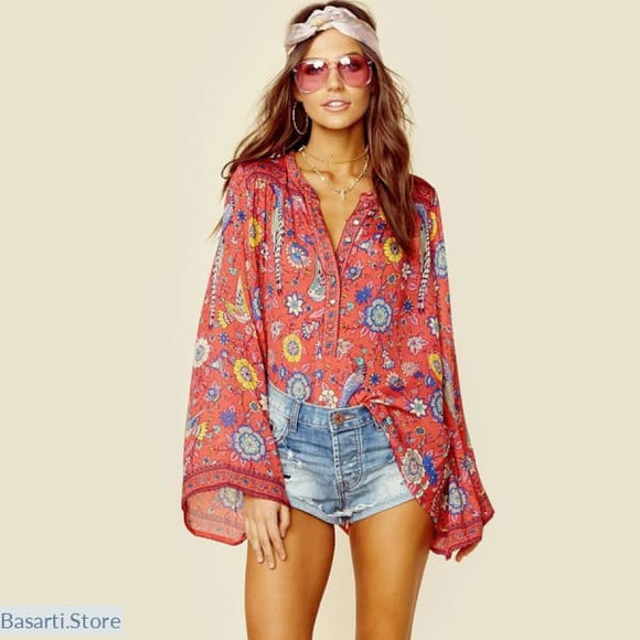 Boho Style Blouse with Birds/Flowers Print and Flare Sleeves, Boho Style Blouse- Basarti.Store