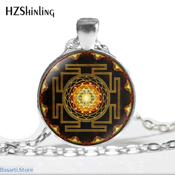 Buddhist Sri Yantra Pendant Necklace, 200000162- Basarti.Store