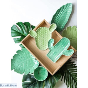 Cactus Design Serving Plates in Ceramic, Cactus Serving Plate in Ceramic- Basarti.Store