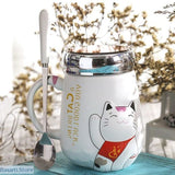 Cartoon Cat Mug With Lid, 100003290- Basarti.Store
