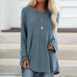 Casual Cotton Long Sleeve O-Neck Blouse in 4 Colors Size S-5XL - S / Blue - 200000346