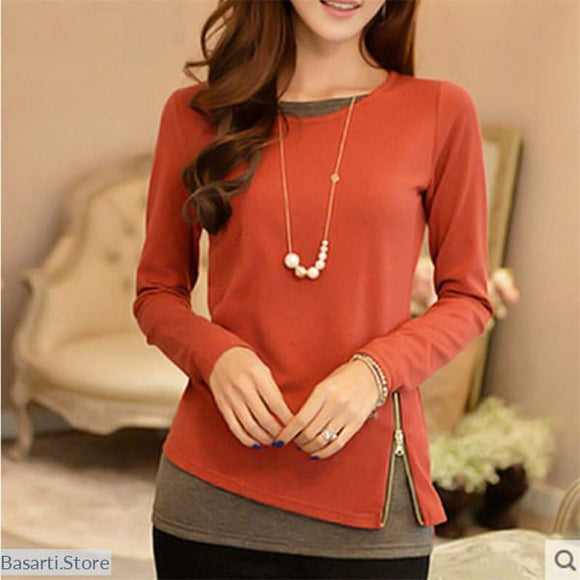 Casual Long Sleeve Side Zipper Two Colors Office Shirt, Long Sleeve Side Zipper Two Colors Tunic- Basarti.Store