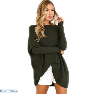 Casual Loose Batwing Sleeve Oversized Pullover, Women Casual- Basarti.Store