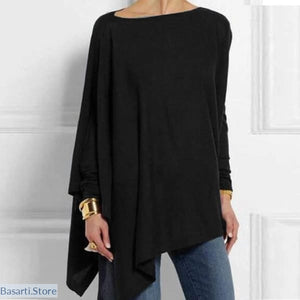 Casual O-Neck Long Sleeve Irregular Tunic Blouse 4 Colors M-XXL - 200000346