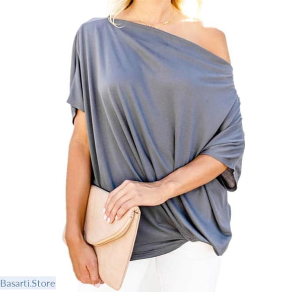 Casual One Off Shoulder Top, Casual One Off Shoulder Top- Basarti.Store