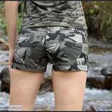 Casual Women's Shorts Mid Waist Military Camouflage Shorts, 200000367- Basarti.Store