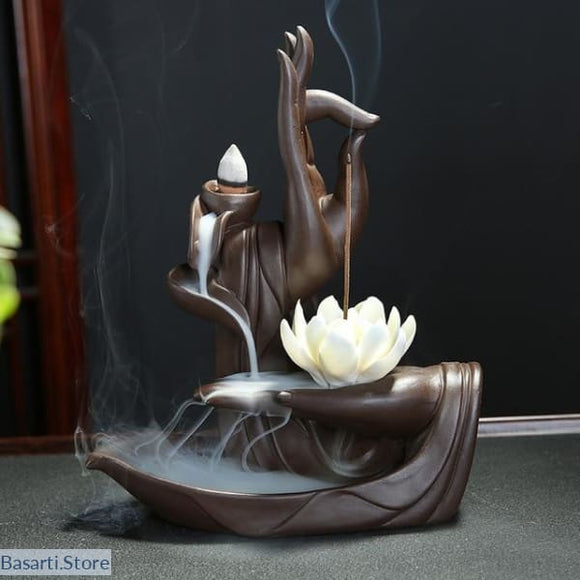 Ceramic Backflow Incense Burner + 10 pieces Cone Incense, Decor Buddha Hand- Basarti.Store