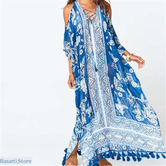 Chiffon Blue Bikini Beach Cover Up, Beach Cover Up- Basarti.Store