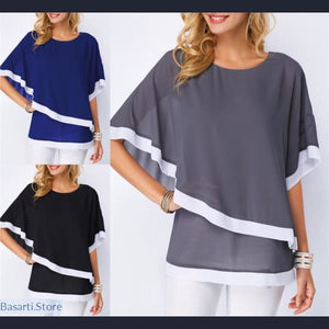 Chiffon Patchwork Irregular Batwing Sleeve O-Neck Blouse Size S-5XL in 3 Colors, 200000346- Basarti.Store