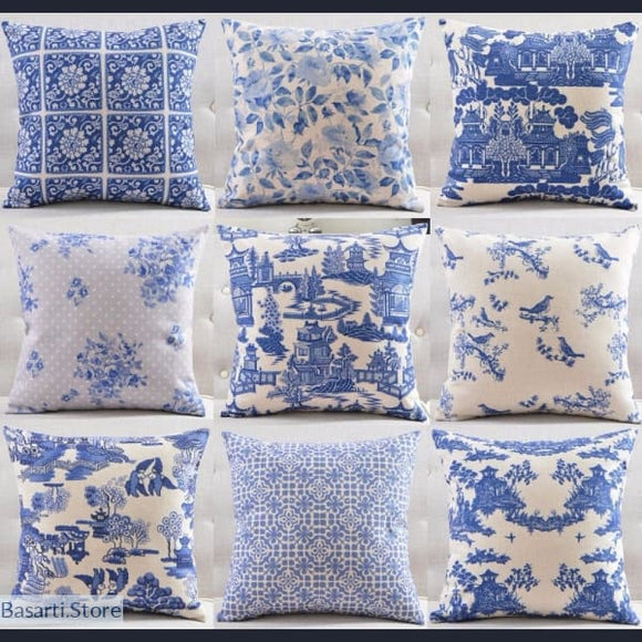 Classic Blue and White Pattern Cushion Covers, 40507- Basarti.Store