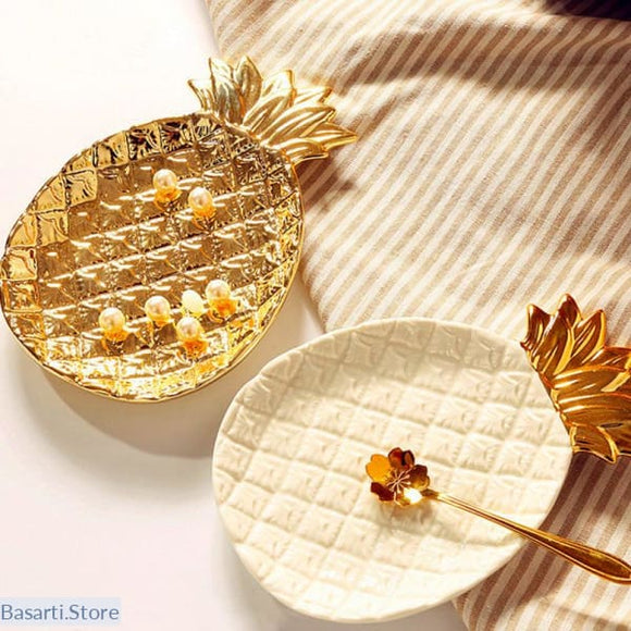 Creative Gold Pineapple Ceramic Decoration Plate, 100004472- Basarti.Store