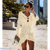 Crochet Knitted Beach Cover-Up Tunic in 6 Colors, Beach Wear- Basarti.Store
