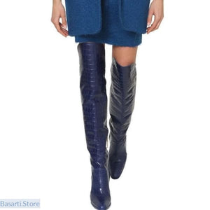 Crocodile Knee High Leather Chunky Heel & Round Toe Boots in 10 Colors - Knee Navy Blue / 35 - 200000998
