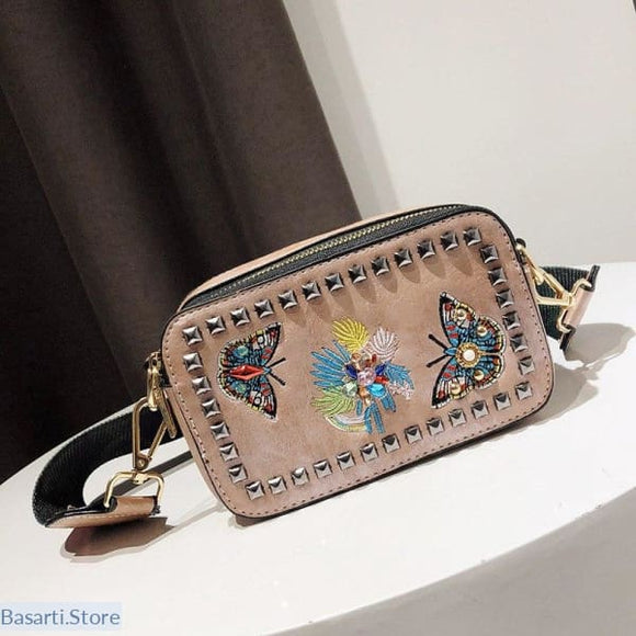 Crossbody Bag with Embroidered Butterflies and Rivets, Crossbody Bag with Embroidered ButterfliesCrossbody Bag with Embroidered Butterflies- Basarti.Store