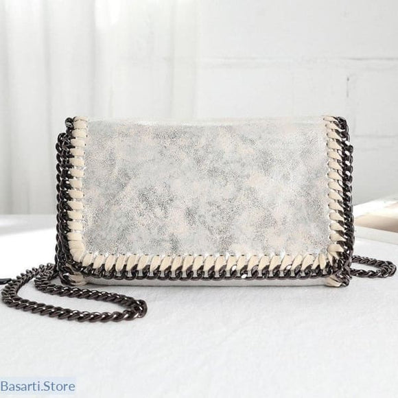 Crossbody Clutch with Flap Pocket and Chain Straps, Chain Straps Crossbody Clutch- Basarti.Store
