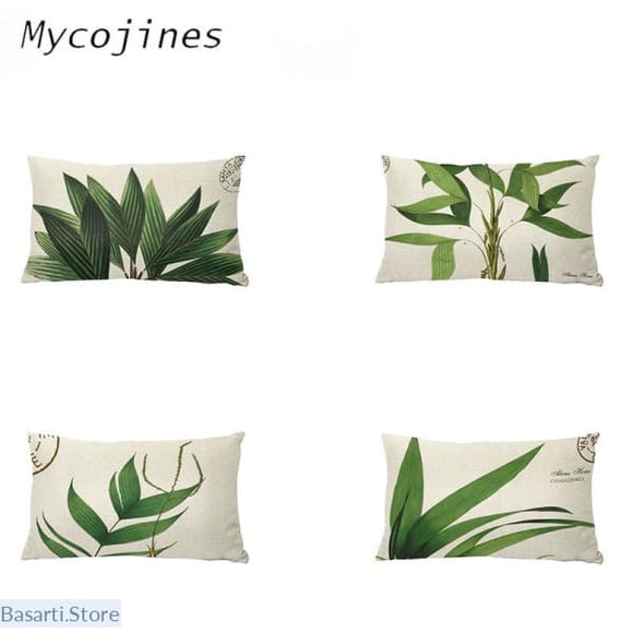 Cushion Cover with Natural Small Fresh Tropical Plants Green Leaves Printing - Decor Pillow Leaves