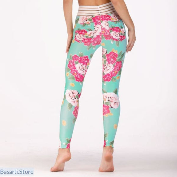Cute Floral Pattern Push Up Fitness Elastic Slim Leggins in 3 Styles, 200000865- Basarti.Store