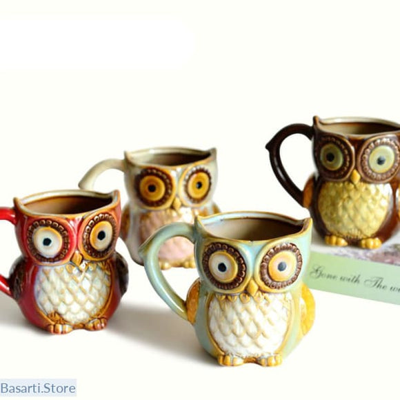 Cute Owl Ceramic Mugs, 100003290- Basarti.Store