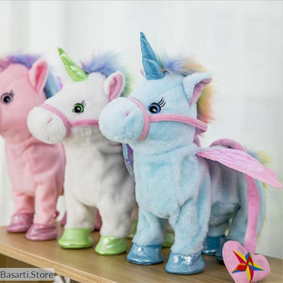 Cute Plush Unicorn Can Walk and Sing, 200388145- Basarti.Store