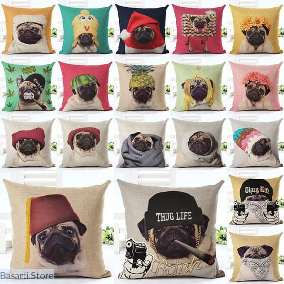 Cute Pug Home Decorative Sofa Cushion Pillow Cases, 40507- Basarti.Store